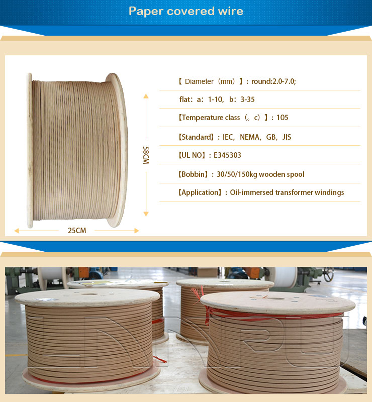 UL Certificate Double Insulated Magnet Paper Covered Wire for Transformer Winding