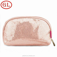 Promotional fashion Pink Spangle PU cosmetic travel bag