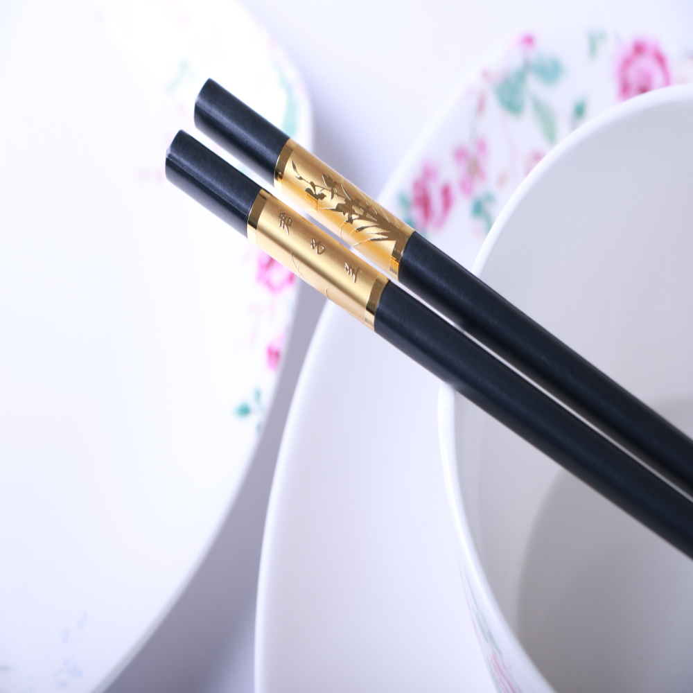 SPS material Chinese wedding gift and decorative gold stripe bulk alloy chopsticks