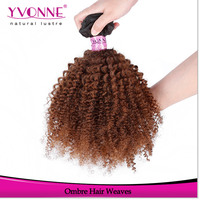 Wholesale two tone brazilian hair weft afro kinky human hair weave