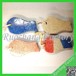 Fish shape pumice stone with cotton line