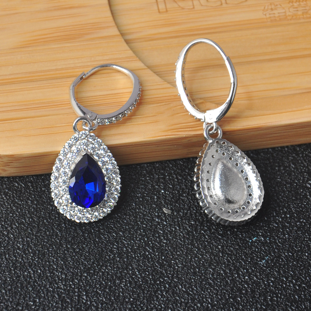 OB Jewelry-Classical Style Blue Cubic Zirconia Pearl Shape Drop Statement Earrings