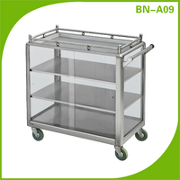 Cosbao stainless steel 4 tiers snack trolley/dim sum trolleys/cake and bread selling carts
