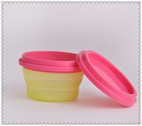 Brand new ECO Friendly Collapsible Silicone Travel Food Container, silicone fodable lunch box