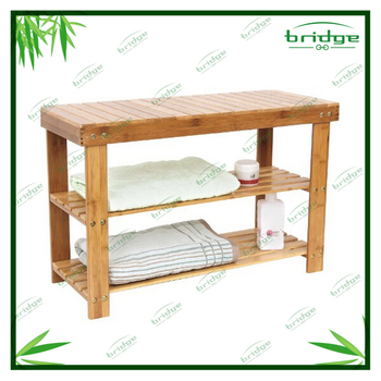 bath bench with tier rack for storage wooden and bamboo OEM bathroom chair eco-friendly rack and shower seat