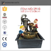 hot sell cute gnomes shape resin fairy water fountain for garden ornament