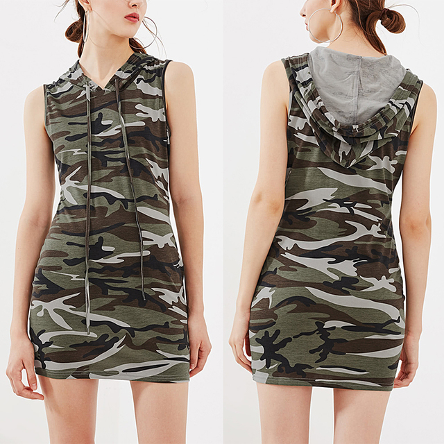 Custom womens clothes camouflage dress print hood sexy bodycon dress