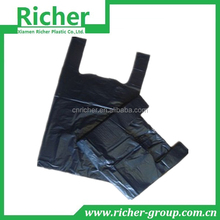 Wholesale black plain plastic t shirt bag for grocery
