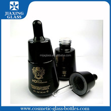 Black cosmetic dropper bottle glass packaging for essential oil 30ml wholesale