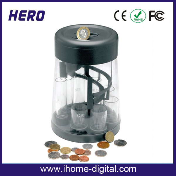 2016 flat oval coin counter used high quality tin money box with CE ROHS FCC