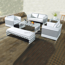 black and white color rattan cross weaving outdoor sleeper sofa garden furniture with waterproof slipcover HFA-033
