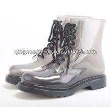 men clear translucent black pvc rain boots