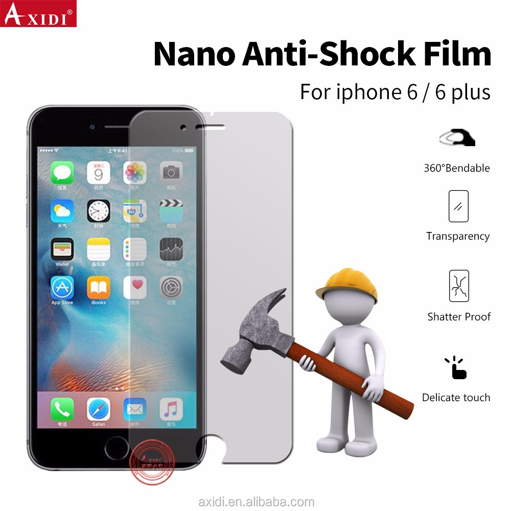 Axidi Brand Explosion-Proof Premium Nano Material PET TPU Screen Protector Film for iPhone6/6s/6plus Anti Shock Screen Protector