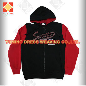 2014 Autumn Wholesale Plain Black &red Newest Men's Sweater with hoody