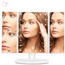 3 Way 180 Degree Rotatable Countertop Folding Mirror Lighted Makeup Vanity Mirror With USB