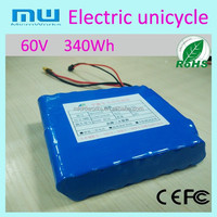 Promotion Electric self balance unicycle battery 260/340 Wh, 32 pcs brand batteries 2P 60V One wheel scooter
