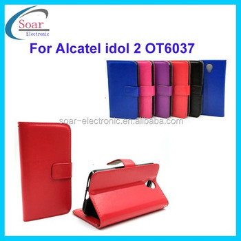 Fashion style Mobile phone cover wallet flip leather case with photo window for Alcatel idol 2 OT6037