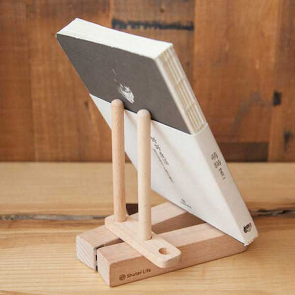 Folding Portable Solid Wood Book Holder, Wood Ipad Stands Reading Rest Bookrest