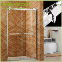 Hotel easy assemble 304 stanless steel Tempered Glass bath rollaway cheap shower screen