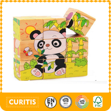 promotional 9 pcs children's educational toys games kids cube block puzzle cubic fun 3d wooden block puzzle 3d cube puzzle game