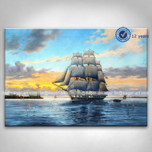 Wholesale Price Shenzhen Dafen Hotel Home Wall Art Gallery Decoration Canvas Handmade Ocean Boat Oil Painting