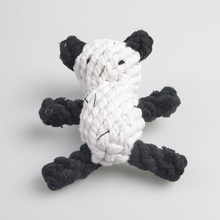 RoblionPet Pet black white panda bite cotton knot rope cartoon good quality dog cat chew toy
