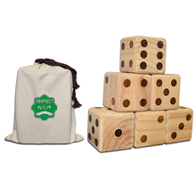 PERFECT 3.5 inch giant wooden yard dice with burned dots