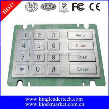 Rugged industrial metal ATM numeric kiosk atm keypad with 16 flat keys