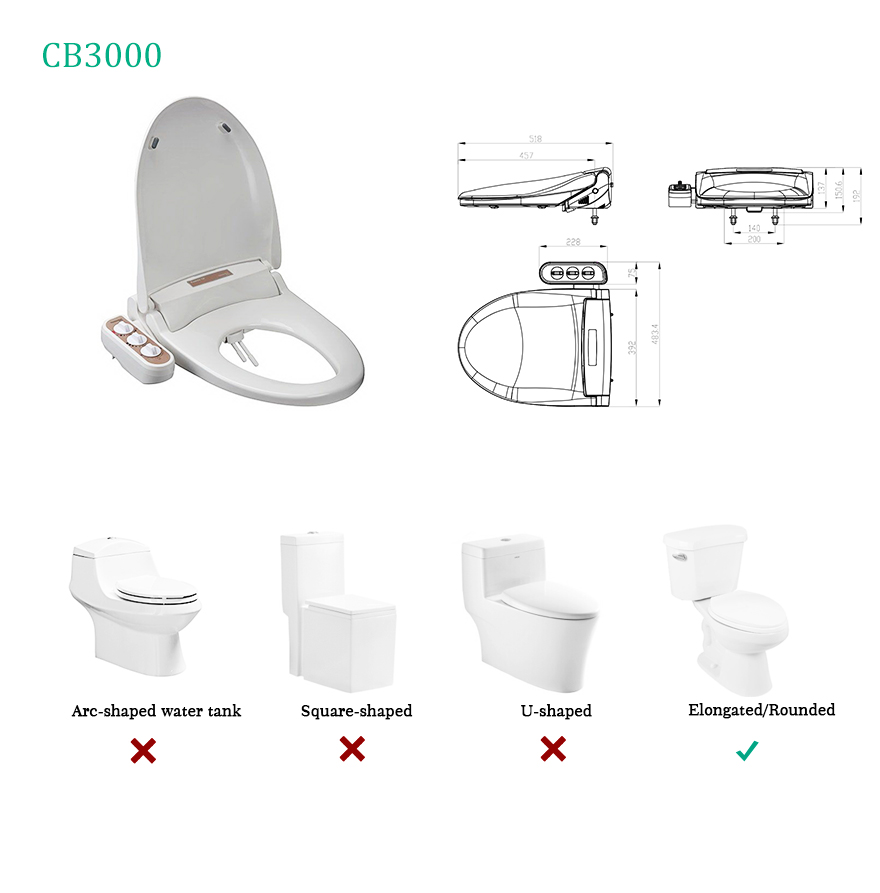 CB3000 High Quality Bidet Spray Automatic Control Toilet Seat Bidet
