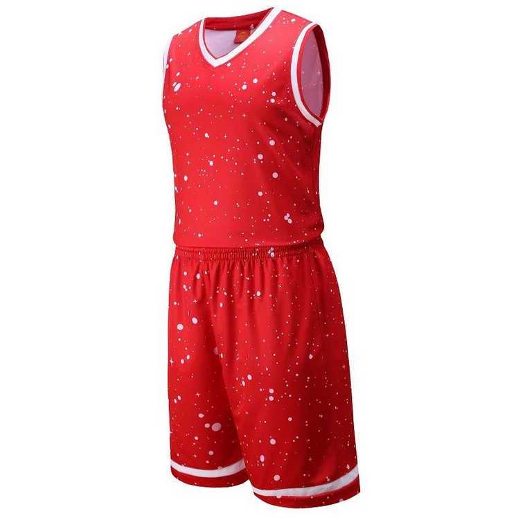 new arrival men reversible white dot red color basketball jersey