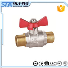 ART.1019 cheap dn 15 20 25 gas/water/oil media and manual power m/m thread screw type brass mini ball valve with nickel coating