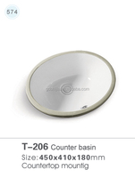 T-206 Oval Ceramic Under Counter Mounted Basin China Kitchen Wash Sink
