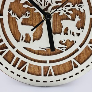 3D modern design wood wall carving clock for home decor
