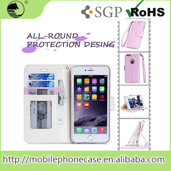 2015 New Products PU+TPU Wholesale Wallet Phone Case With Hand Belt For iPhone 6S plus