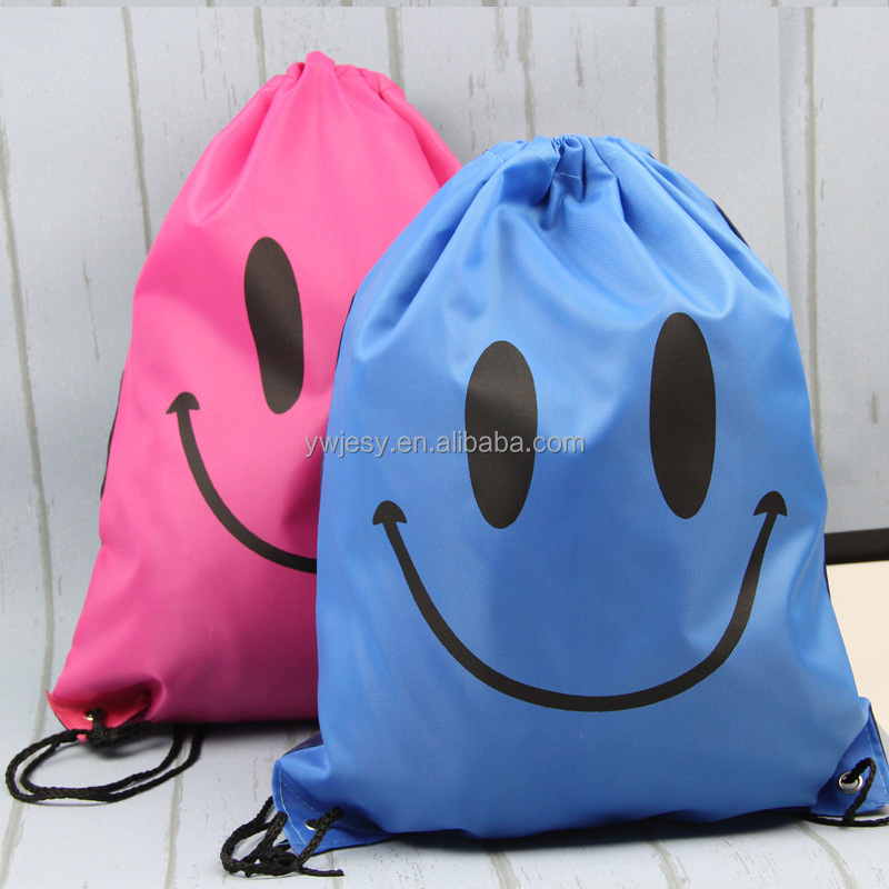 Oxford Cloth Smile Face Beach Bag Cheap Sport Bag with Drawstring Size: 43x34CM JS06- 1B