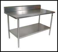 Hotel Equipment Supplies Double Layers Stainless Steel Kitchen Worktable