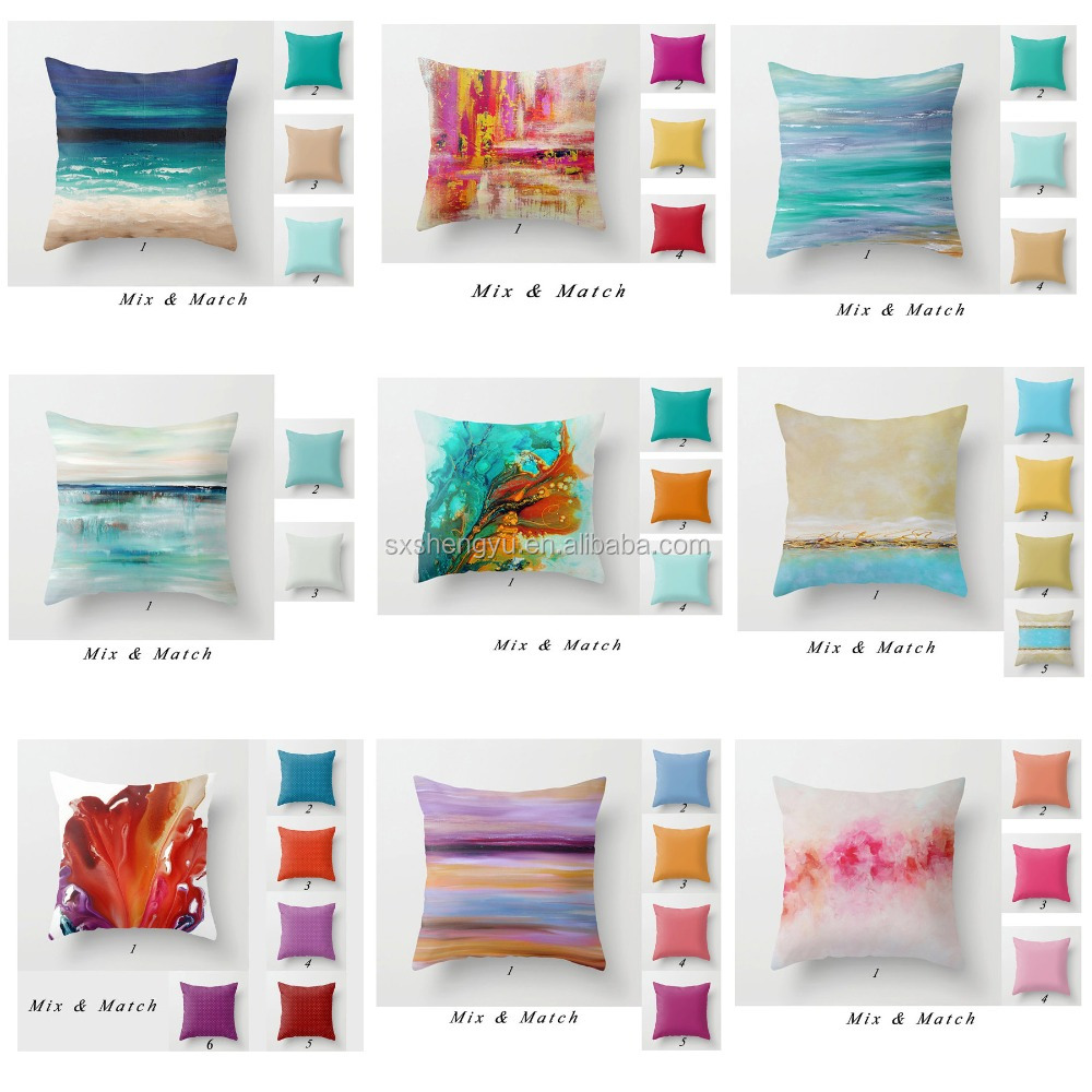 2016 painting art style 100% polyester poplin cushion cover Decorative Throw Pillow Covers coutch