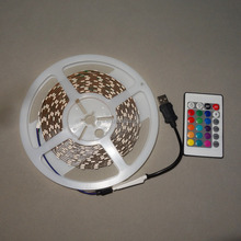 5M DC5V 300leds;60LED/m;non-waterproof strip;with USB RGB mini controller+ 24key IR remote