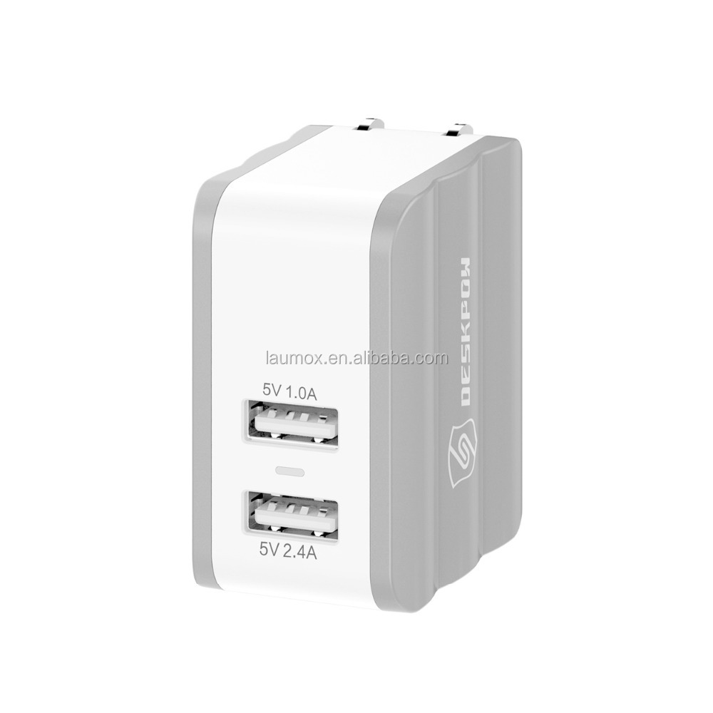 5V 2.4A 2 port usb wall charger with US plug
