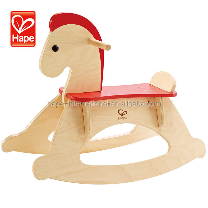 New style and educational kids natural woodn rocking horse handles