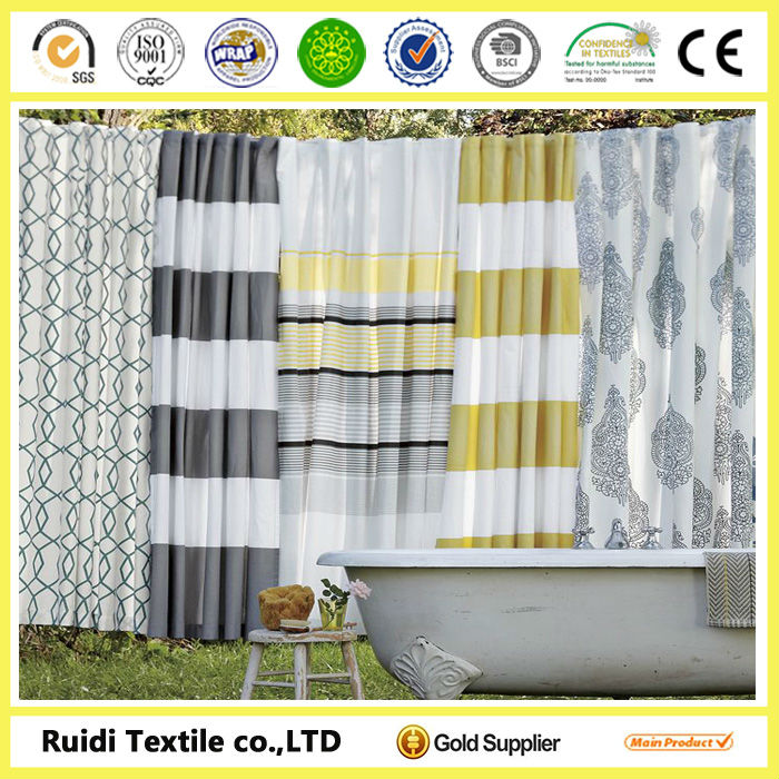 2014 hotel best quality bathroom curtain patterns, Waterproof Polyester Bathroom Curtain