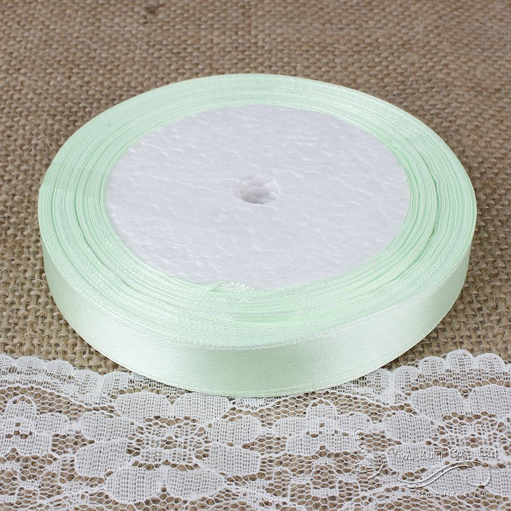 Light Green 10/12/15/20/25/40mm Satin Ribbons Wedding DIY Decorations Accessory,Sold Per Packet Of 1 Roll (25 Yards)
