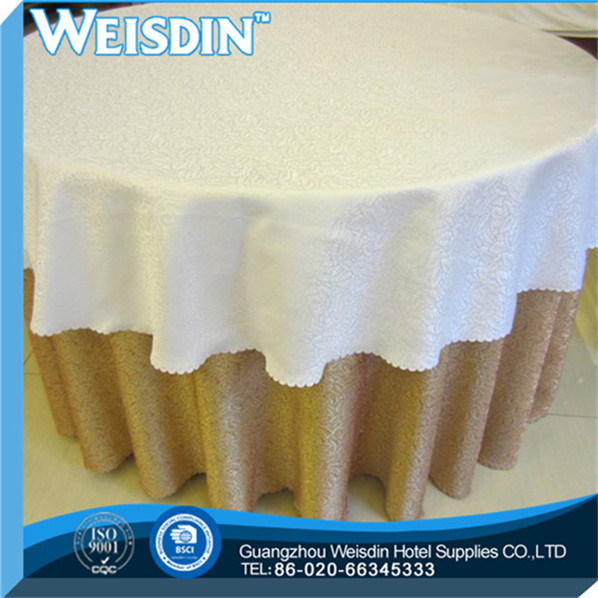 Polyester / Cotton made in China embroidered Jacqurd fabric lace fancy wedding table cloth overlay