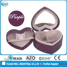 heart-shaped leather jewelry trolley case wholesale