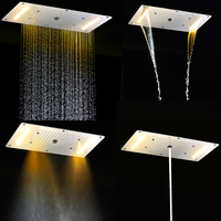 hydro power led shower head 380*700mm big shower faucet stainless steel rainfall waterfall mist bathroom accessoy embed ceiling