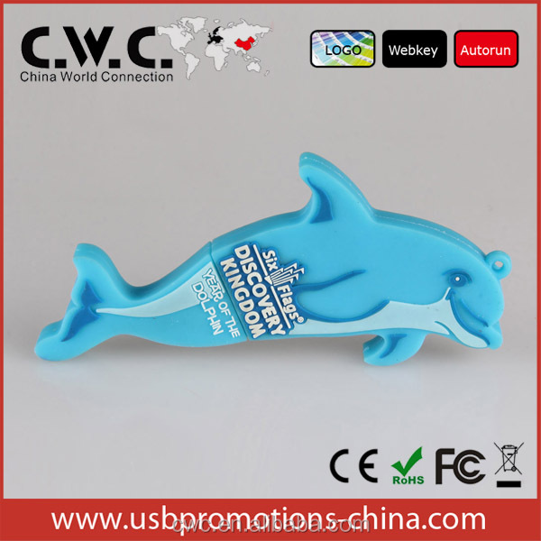 Custom gifts Dolphin 3d soft pvc usb covering
