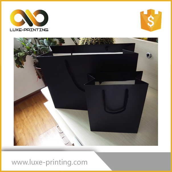 Low cost handmade retail matte black paper bag wholesale