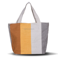 Women Girl Lady Linen Cotton Stripes Printing Canvas Tote Shopping Bag
