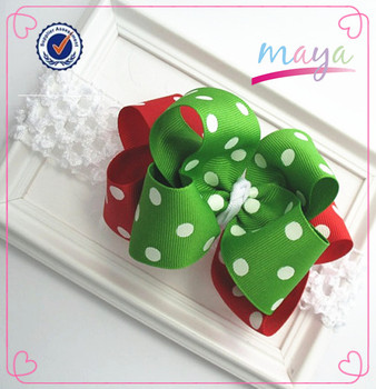 Novelty toddler girls green and red dots christmas head band