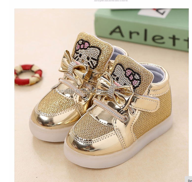 Babyinstar New Fashion 2017 LED Lights Children Casual Shoes Baby Walker Cute Cartoon Girl's Princess Shoes